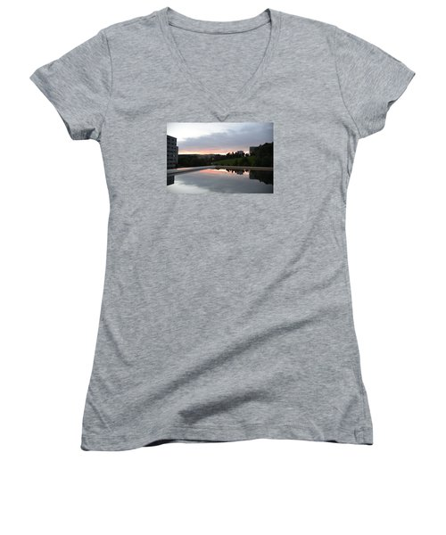 Women's V-Neck T-Shirt (Junior Cut) featuring the photograph Blue Visions 2 by Teo SITCHET-KANDA
