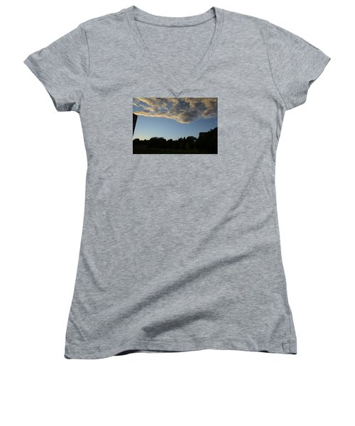 Women's V-Neck T-Shirt (Junior Cut) featuring the photograph Blue Visions 4 by Teo SITCHET-KANDA