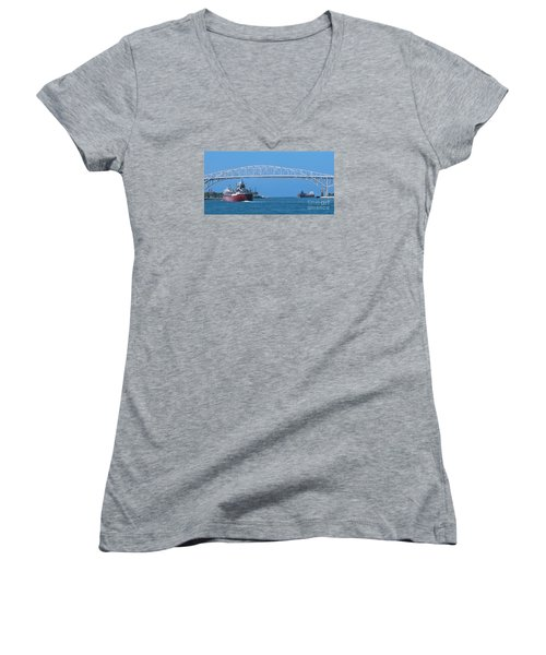 Blue Water Bridge And Freighters Women's V-Neck T-Shirt (Junior Cut) by Ann Horn