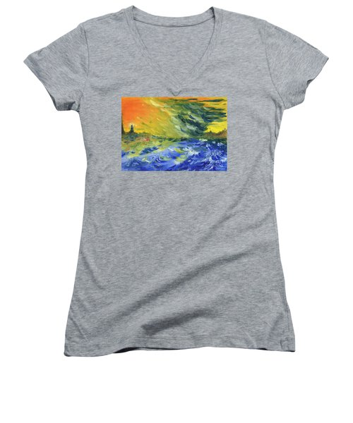 Blue Waves Women's V-Neck T-Shirt