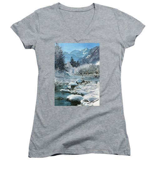 Blue Winter Women's V-Neck T-Shirt