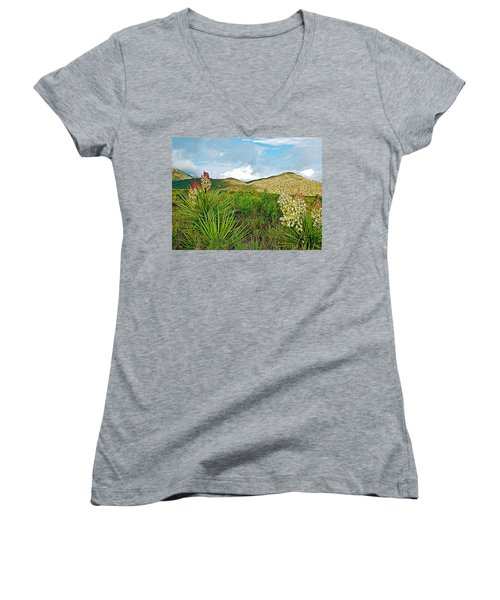 Blue Yucca And Chisos Mountains In Big Bend National Park-texas Women's V-Neck T-Shirt