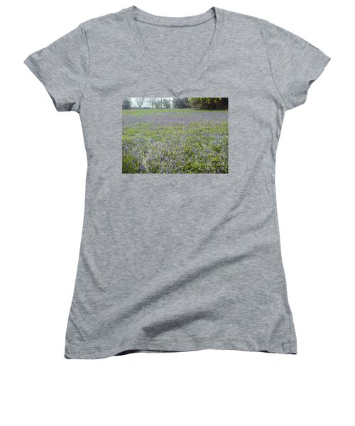 Women's V-Neck T-Shirt (Junior Cut) featuring the photograph Bluebell Fields by John Williams