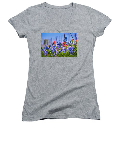 Women's V-Neck T-Shirt (Junior Cut) featuring the photograph Bluebonnet Paintbrush Texas  - Wildflowers Landscape Flowers Fence  by Jon Holiday