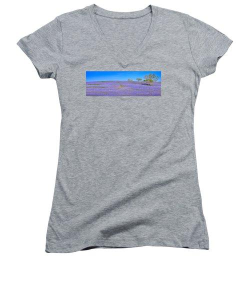 Women's V-Neck T-Shirt (Junior Cut) featuring the photograph Bluebonnet Vista Texas  - Wildflowers Landscape Flowers  by Jon Holiday