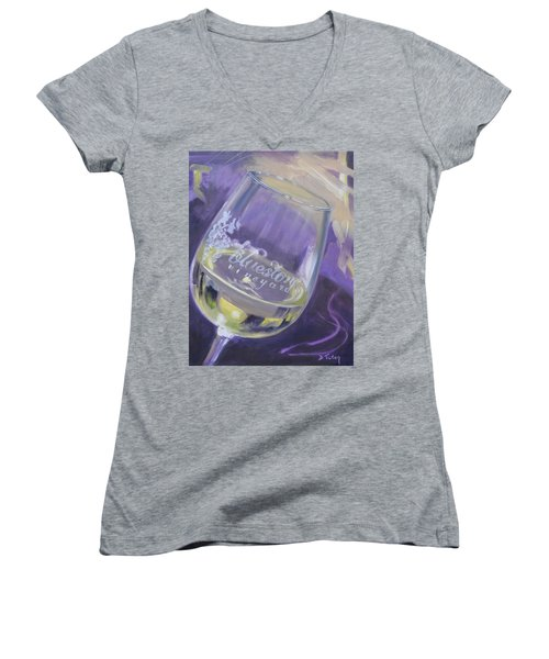 Bluestone Vineyard Wineglass Women's V-Neck T-Shirt