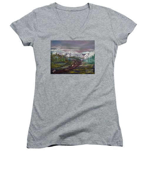 Women's V-Neck T-Shirt (Junior Cut) featuring the painting Blurred Mountain by Jan Dappen