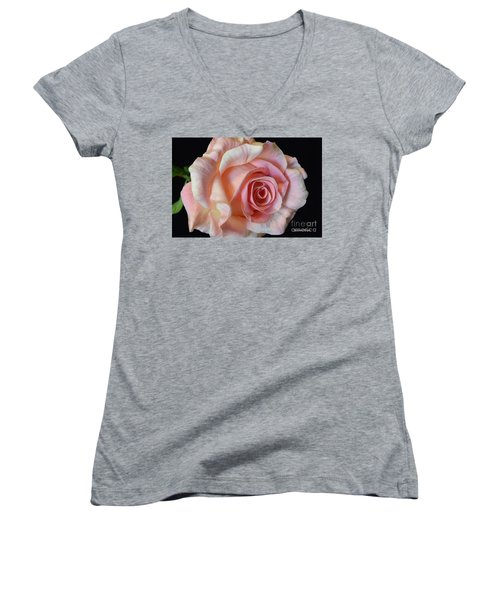 Women's V-Neck T-Shirt (Junior Cut) featuring the photograph Blushing Pink Rose by Jeannie Rhode