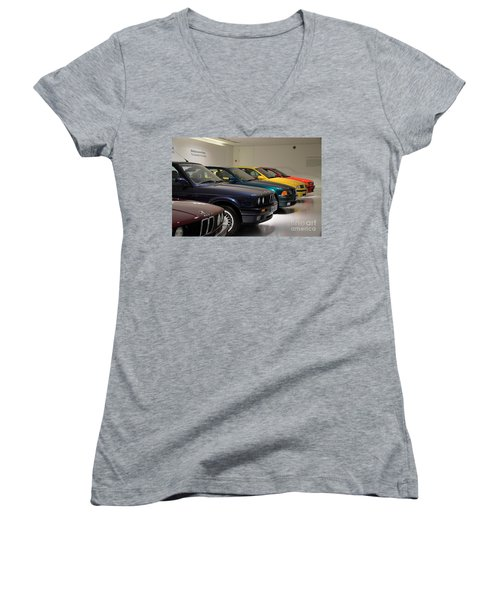 Bmw Cars Through The Years Munich Germany Women's V-Neck T-Shirt