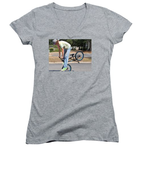 Bmx Rider Women's V-Neck T-Shirt (Junior Cut) by Aaron Martens