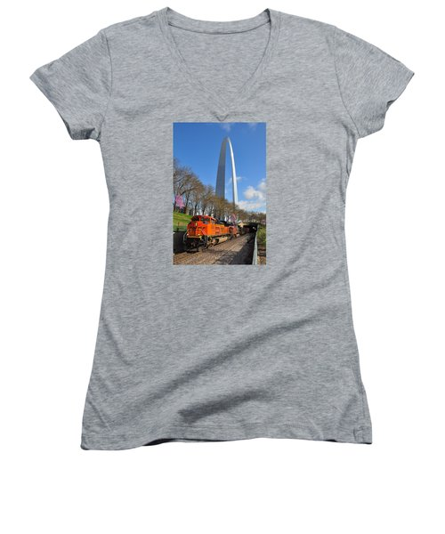 Bnsf Ore Train And St. Louis Gateway Arch Women's V-Neck