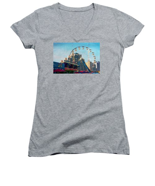 Women's V-Neck featuring the photograph Boardwalk Ferris  by Alice Gipson
