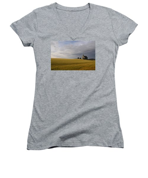 Boarhills Church Women's V-Neck T-Shirt (Junior Cut) by Jeremy Voisey