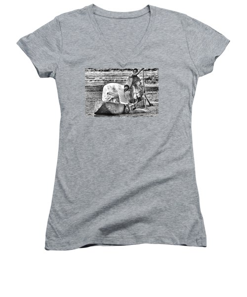 Boat And Cow  Women's V-Neck