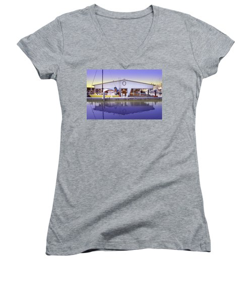 Women's V-Neck T-Shirt (Junior Cut) featuring the photograph Boat House by Sonya Lang