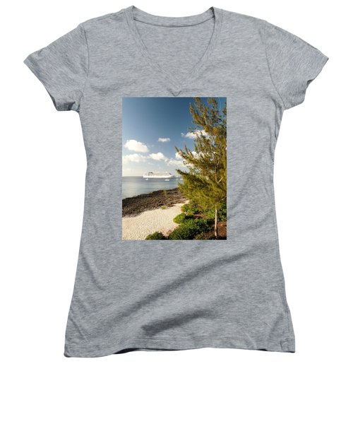 Women's V-Neck T-Shirt (Junior Cut) featuring the photograph Boat In Port by Amar Sheow