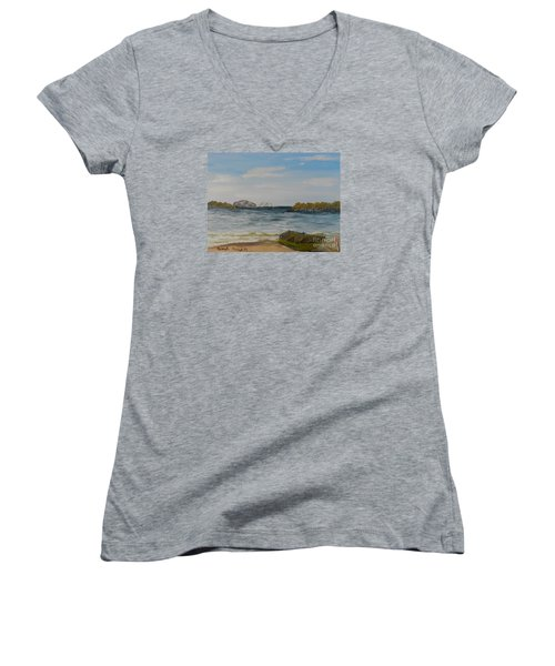 Boat On The Beach Women's V-Neck (Athletic Fit)