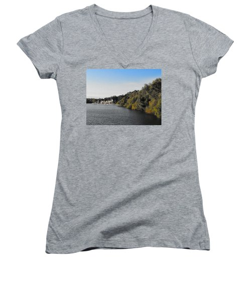 Women's V-Neck T-Shirt (Junior Cut) featuring the photograph Boathouse II by Photographic Arts And Design Studio