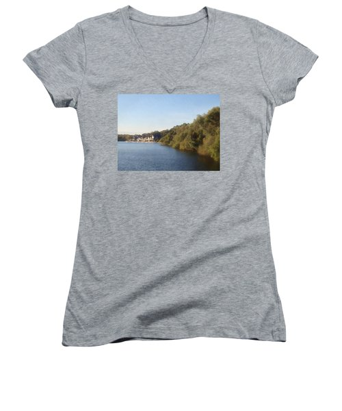 Women's V-Neck T-Shirt (Junior Cut) featuring the photograph Boathouse by Photographic Arts And Design Studio