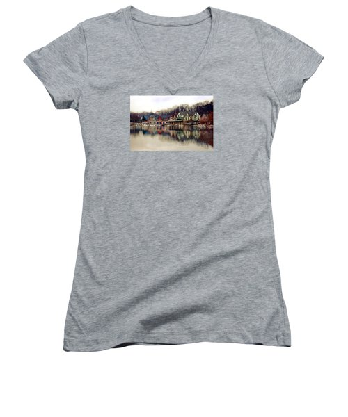 Boathouse Row Philadelphia Women's V-Neck (Athletic Fit)
