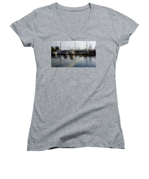 Women's V-Neck T-Shirt (Junior Cut) featuring the photograph Boats At Marina On Liberty Bay by Greg Reed