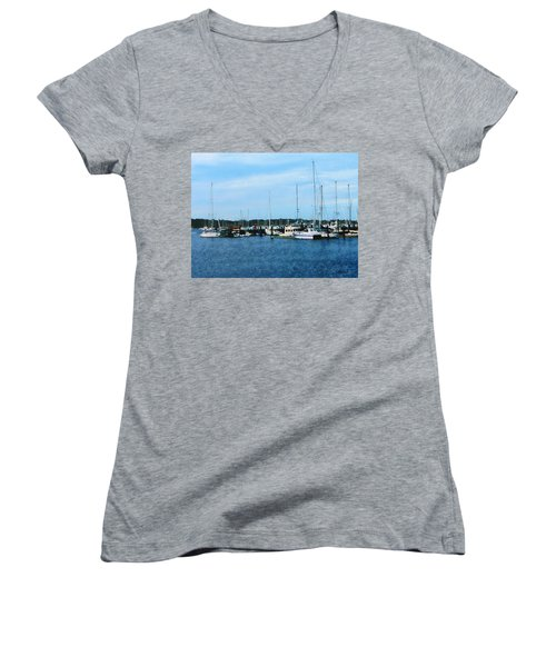 Women's V-Neck T-Shirt (Junior Cut) featuring the photograph Boats At Newport Ri by Susan Savad