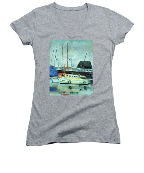 Boats At Provincetown Ma Women's V-Neck T-Shirt (Junior Cut) by Michael Daniels