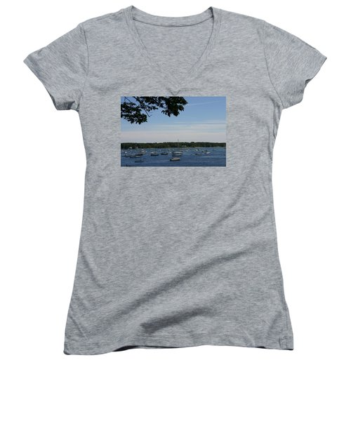 Women's V-Neck T-Shirt (Junior Cut) featuring the photograph Boats At Rest by Denyse Duhaime
