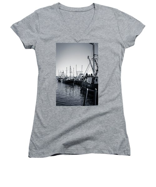 Boats At The Pier  Women's V-Neck (Athletic Fit)