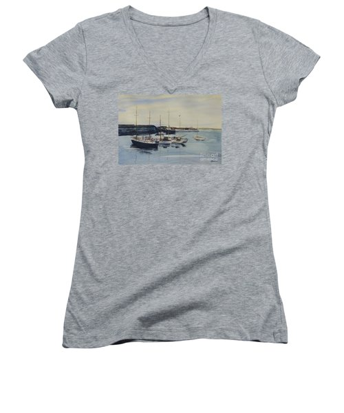 Boats In A Harbour Women's V-Neck T-Shirt (Junior Cut) by Martin Howard