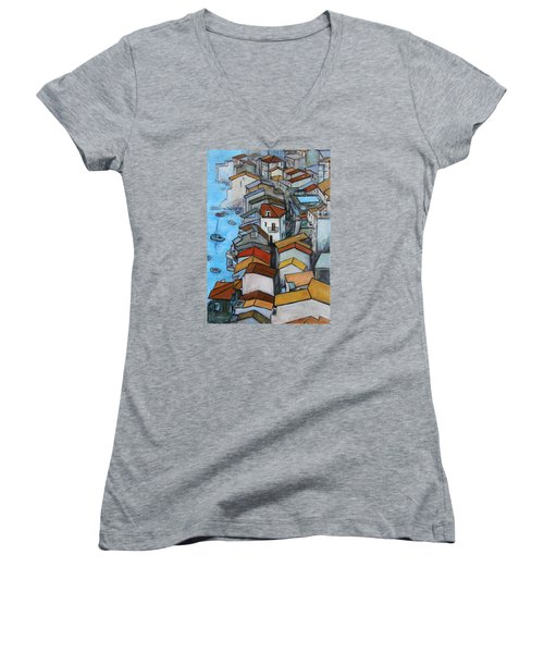 Boats In Front Of The Buildings Iv Women's V-Neck (Athletic Fit)