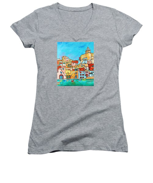 Boats In Front Of The Buildings Vii Women's V-Neck T-Shirt (Junior Cut) by Xueling Zou
