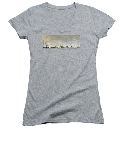 Women's V-Neck T-Shirt (Junior Cut) featuring the photograph Boats In Harbor Reflection by Peter v Quenter