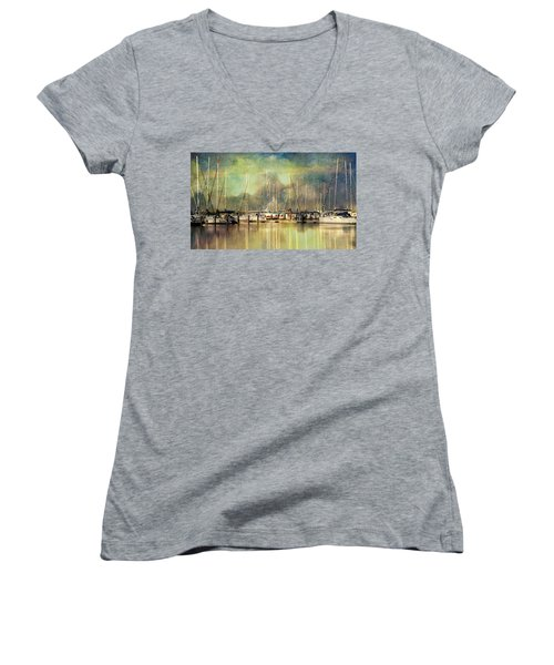 Boats In Harbour Women's V-Neck (Athletic Fit)
