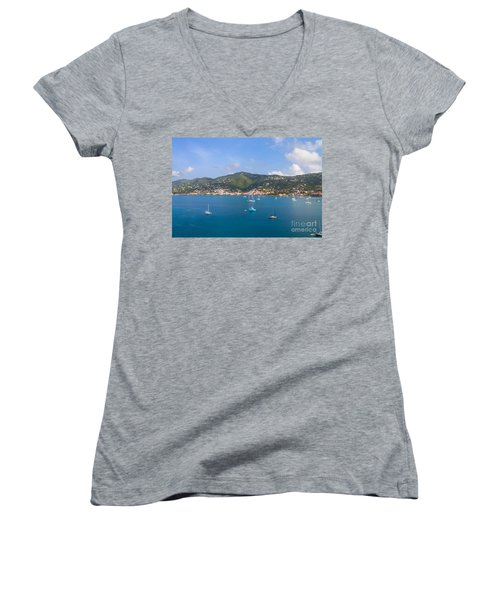 Boats In The Bay Women's V-Neck T-Shirt