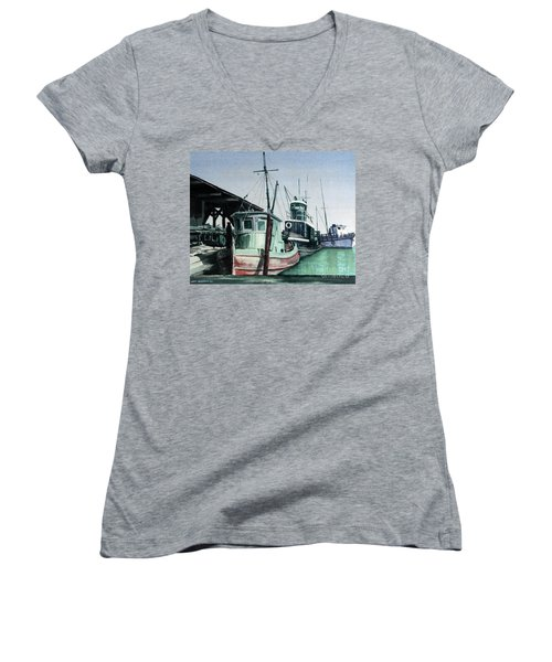 Women's V-Neck T-Shirt (Junior Cut) featuring the painting Boats by Joey Agbayani