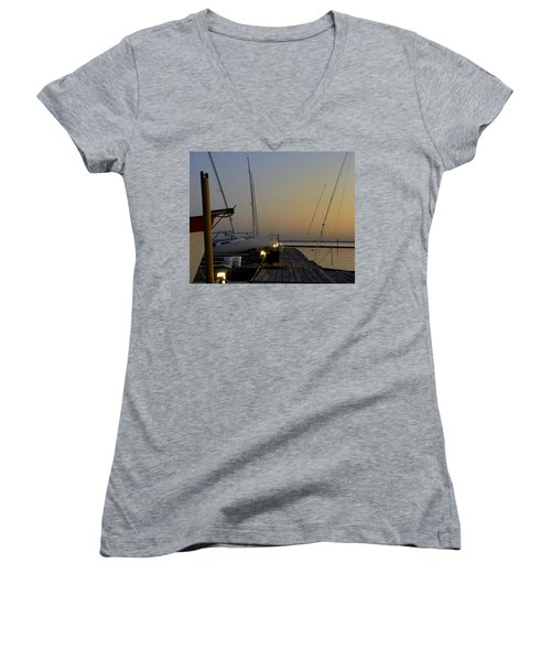 Boats Moored To Pier At Sunset Women's V-Neck T-Shirt (Junior Cut) by Charles Beeler