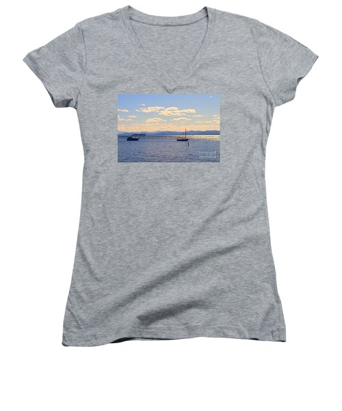 Boats On Lake Champlain Vermont Women's V-Neck T-Shirt (Junior Cut) by Catherine Sherman