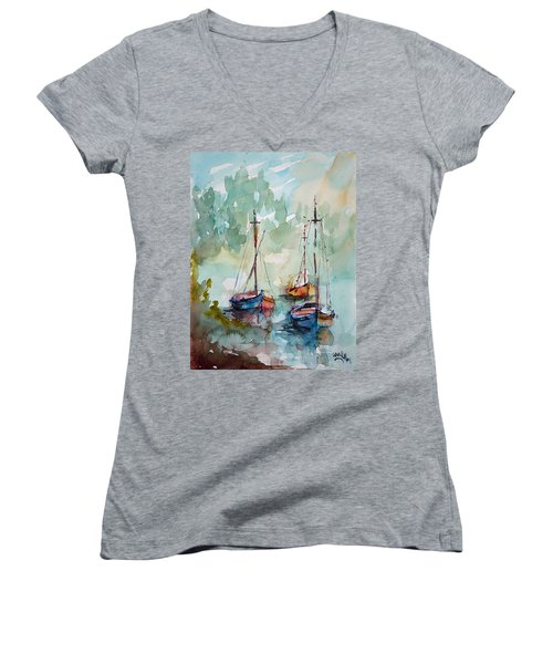 Boats On Lake  Women's V-Neck T-Shirt