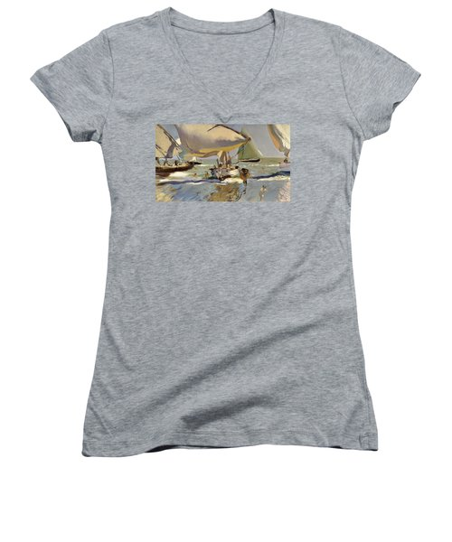 Boats On The Shore Women's V-Neck T-Shirt