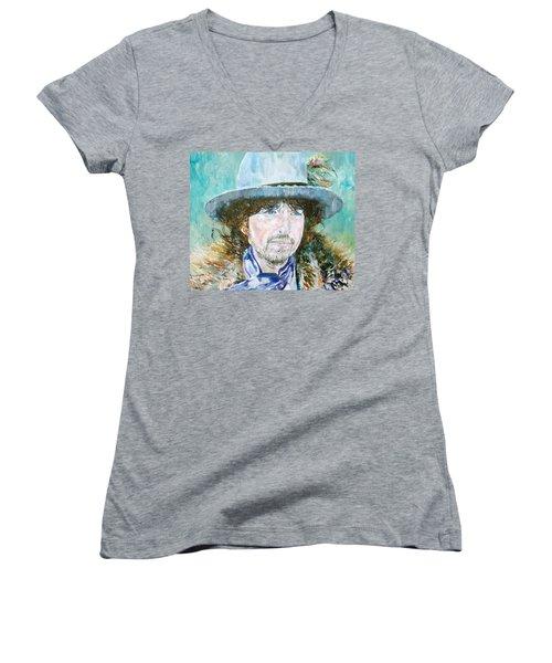 Bob Dylan Oil Portrait Women's V-Neck (Athletic Fit)