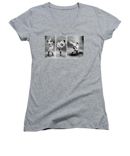 Bob Feller Pitching Women's V-Neck T-Shirt (Junior Cut) by R Muirhead Art
