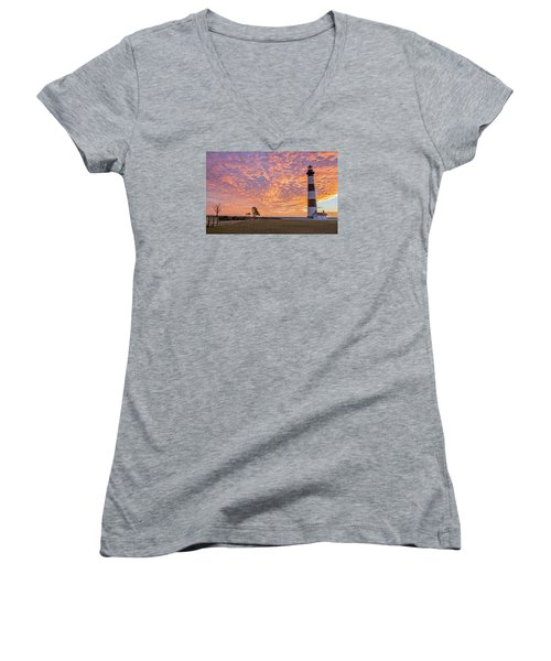 Bodie Island Lighthouse At Sunrise Women's V-Neck T-Shirt (Junior Cut) by Photographic Arts And Design Studio