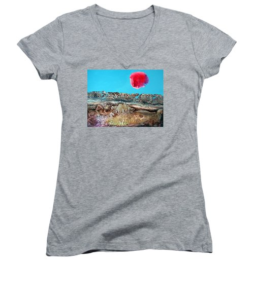 Women's V-Neck T-Shirt (Junior Cut) featuring the painting Bogomil Sunrise 2 by Otto Rapp
