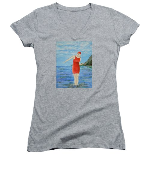 Women's V-Neck T-Shirt (Junior Cut) featuring the painting Bold Red by Tamyra Crossley