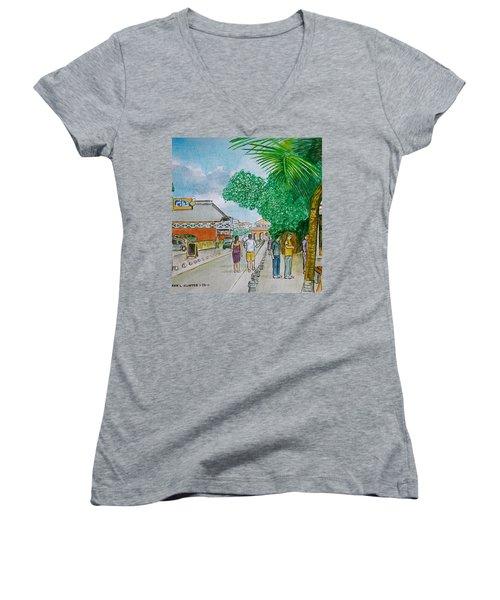 Bonaire Street Women's V-Neck T-Shirt (Junior Cut) by Frank Hunter
