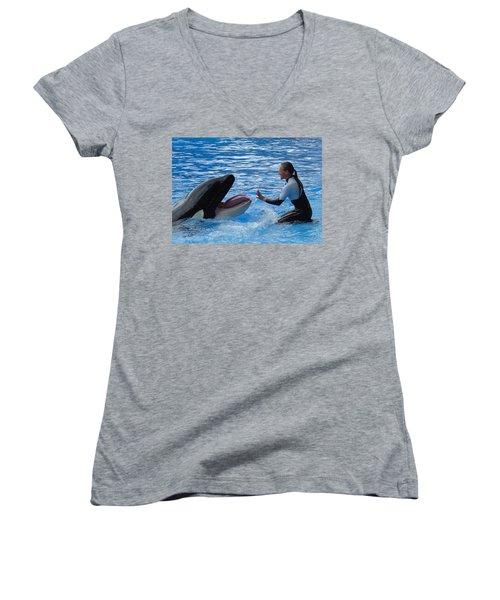 Women's V-Neck T-Shirt (Junior Cut) featuring the photograph Bonding by David Nicholls