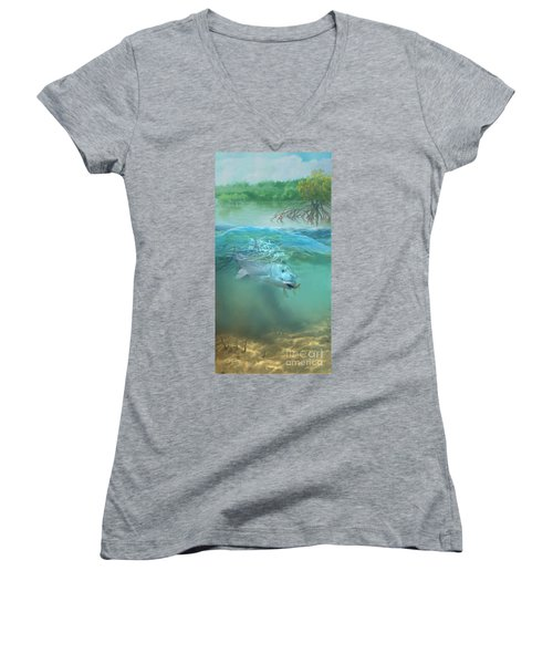Women's V-Neck T-Shirt (Junior Cut) featuring the painting Bone Fish by Rob Corsetti