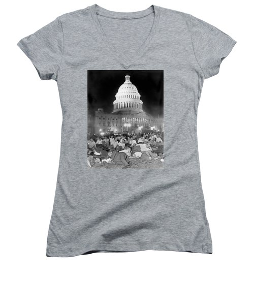 Bonus Army Sleeps At Capitol Women's V-Neck T-Shirt (Junior Cut) by Underwood Archives