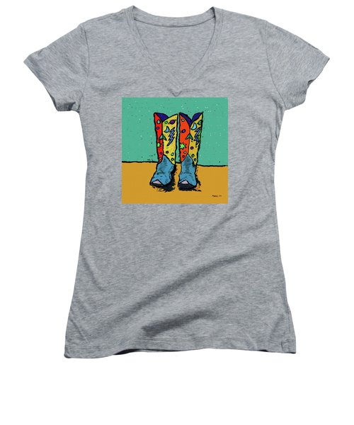 Boots On Teal Women's V-Neck